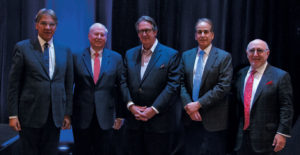 """Participants in the """"The View from the C-Suite"""" session, during the 18th Annual Shared Ownership Investment Conference in Miami Beach, Florida. Pictured left to right:  Roy Peires, founder and chairman, CLC World Resorts & Hotels; Stephen Weisz, president and CEO, Marriott Vacations Worldwide Corp.; Peter Yesawich, vice chairman, emeritus, MMGY Global; Craig Nash, chairman, president, and CEO of ILG; and Howard Nusbaum, president and CEO, American Resort Development Association."""