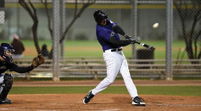 Nick Doran takes a healthy cut at the Rockies Fantasy Camp. Note the head down, eye on the ball, and weight on the front foot as the ball ascends toward the outfield fence.