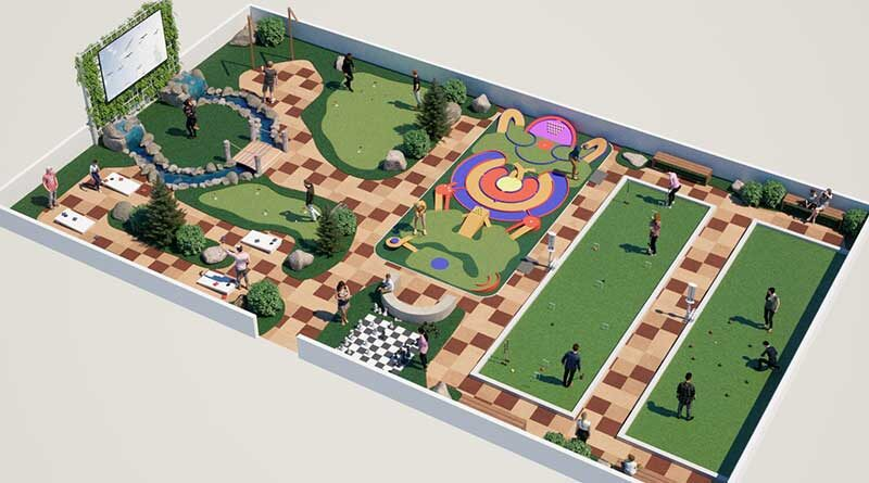 Artist rendering of the new GameCourt Promenade™ from Adventure Golf & Sports (AGS) shows how open spaces about the size of a Basketball court can be repurposed into a park-like family activity center with six lawn games, a practice putting green, benches and more. AGS says the open space concept may also make it easy to use for other guest activities like health / wellness classes, birthday celebrations, cocktail parties, watching movies on an outdoor screen, etc.