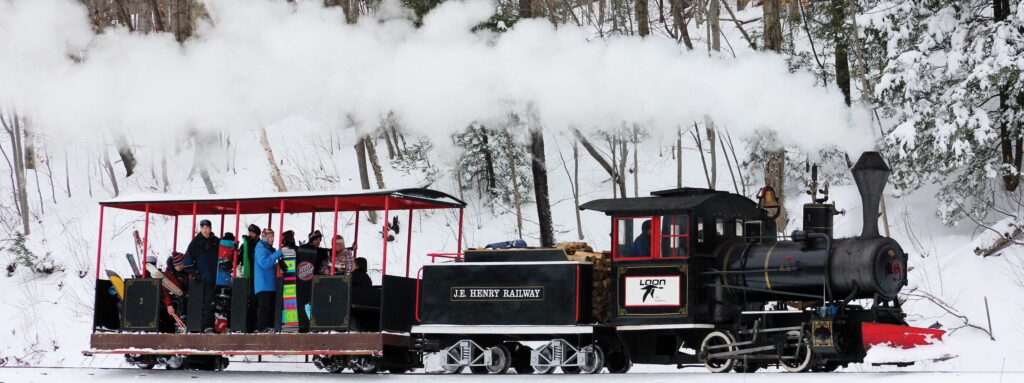 Skier transport train at Loon Mountain, Lincoln, NH.